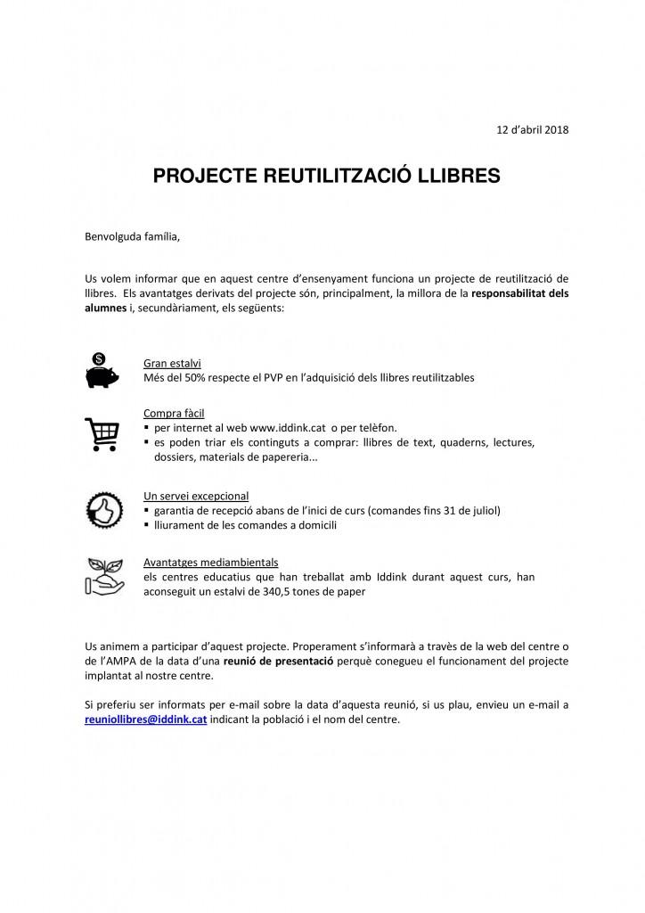 Carta reunio famílies Preinscripcions