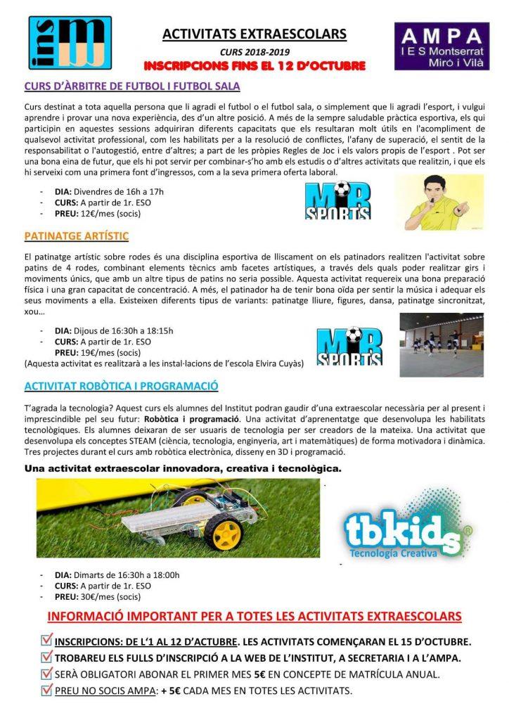Inscripcions activitats extraescolars de l'AMPA