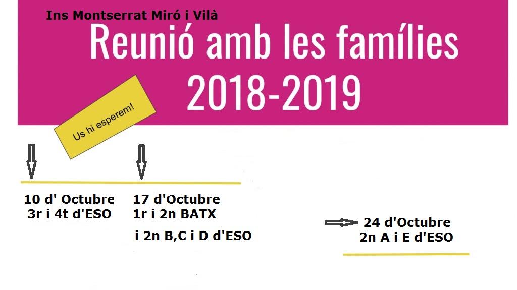 Reunions famílies curs 2018-2019